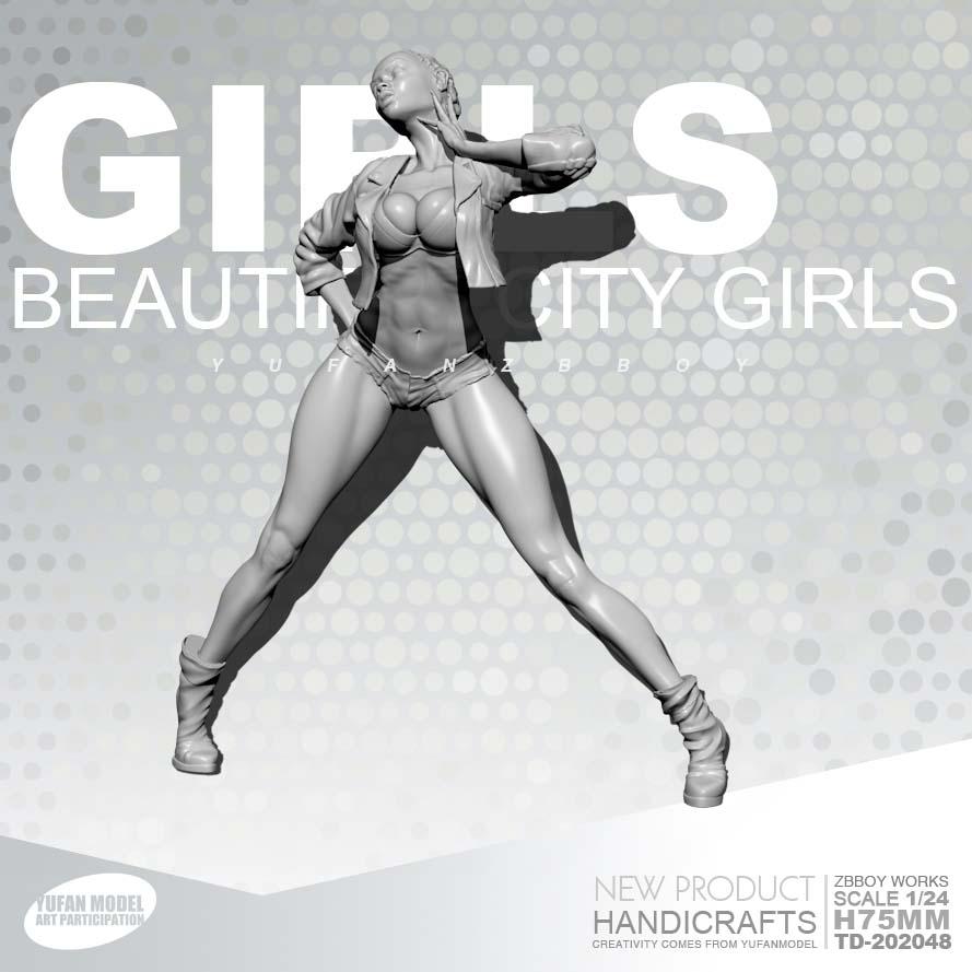 1/24 Resin Kits GIRLS Hop Resin Black Girl Soldiers Were Self-assembled TD-202048