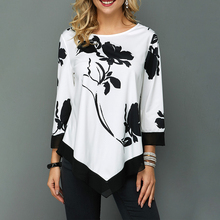 Asymmetrical Hem Flower Print Women Shirt Autumn Nine Quarter Sleeve O Neck Blouse Ladies Black And White Floral Print Shirt D35 flower print shirt