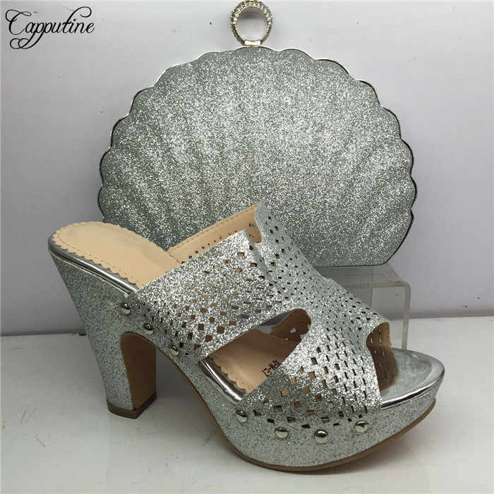 Wanita Seksi Sepatu Hak Tinggi dengan Malam Tas Set untuk Pesta GY41 Hitam Tinggi Hak 8 Cm