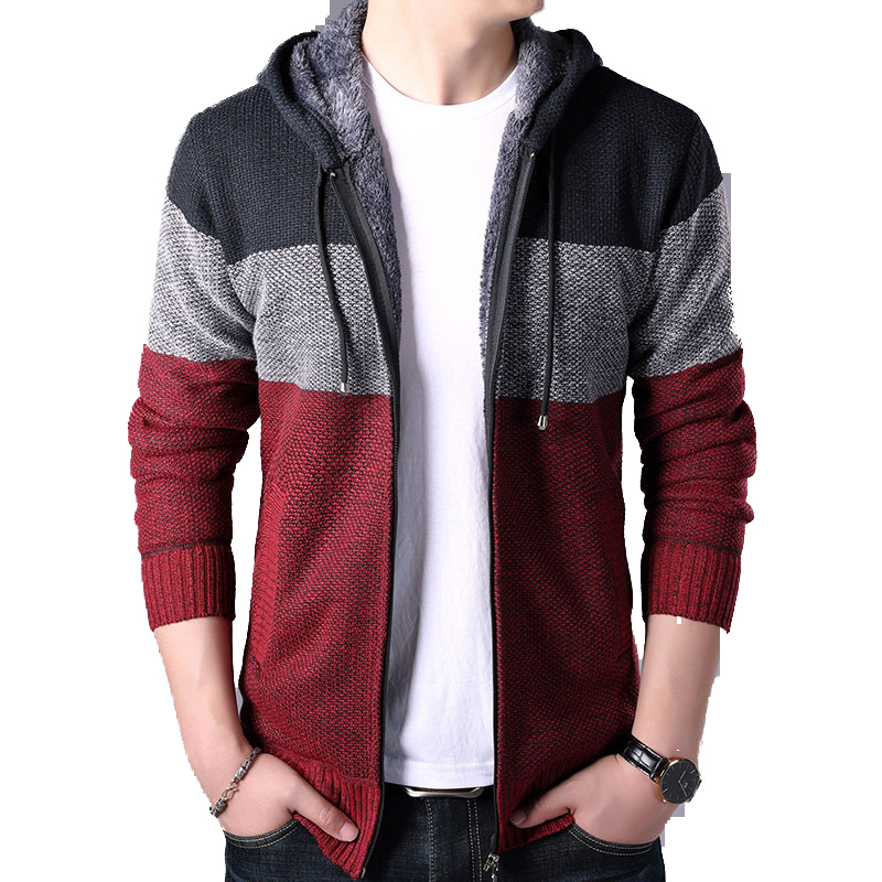 2019 Autumn Winter Men Hoodies Cardigan Men Striped Knitted Sweaters Mens Hoody Sweatercoats Brand Male Fleece Sweaters 3XL