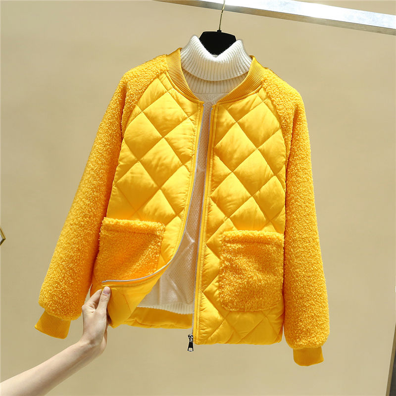 Women Spring Autumn Jacket Lamb Fur Parkas Short Women Coats And Jacket Plus Size Parka Mujer Slim Winter Jacket  Spring Parkas