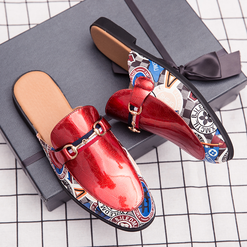 New Men's Pointed Shoes, Slippers Two Wear Personality Casual Shoes, Patent Leather Trend Shoes, Fashion Stripe Shoes, White Sho