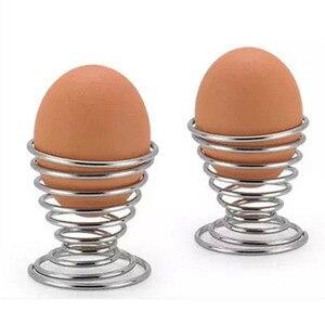 Best Wholesale New Kitchen Breakfast Hard Boiled Metal Egg Cup Spiral Spring Holder Egg Cup