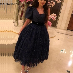 Image 3 - New Arrival Black Short muslim evening dress 2020 Lace Beading Muslimische abendkleider Formal dress Party