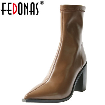 FEDONAS Stretch Slim Boots Women Autumn Winter Party Basic Office Shoes Woman Pointed Toe  Back Zipper Short Boots High Heels