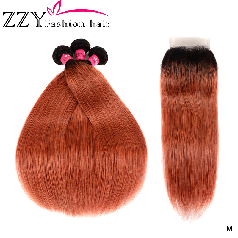 ZZY Fashion Hair Malaysian Straight Ombre Hair Bundles With Closure 1B/350 Human Hair Extensions Non-remy Hair Weave 3 Bundles