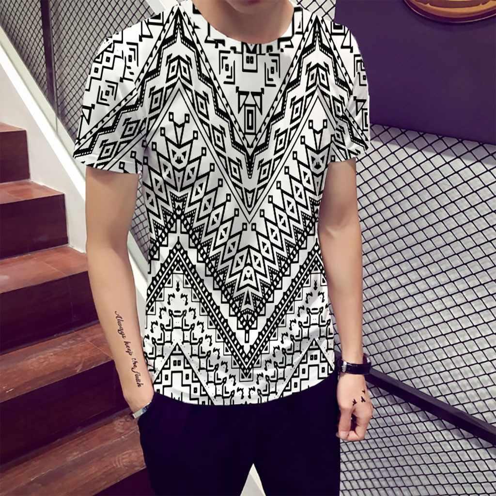 Men Suit Pakaian Longgar Kasual Pakaian Olah Raga Lucu 3D Warna Cetak Round Leher Lengan Pendek T Shirt Tops Harian Blus Tee camisas Ho