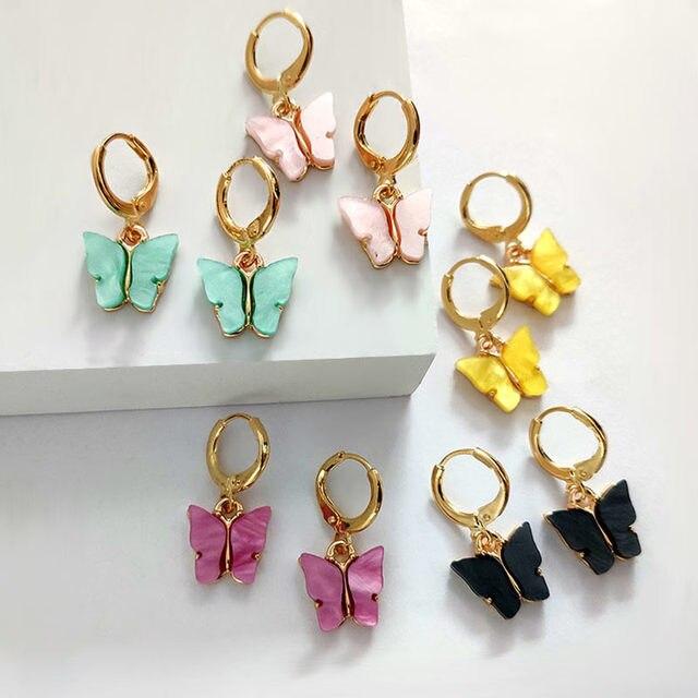 Flatfoosie New Fashion Women Butterfly Drop Earrings Animal Sweet Colorful Acrylic Earrings 2019 Statement Girls Party.jpg 640x640 - Women Butterfly Drop Earrings