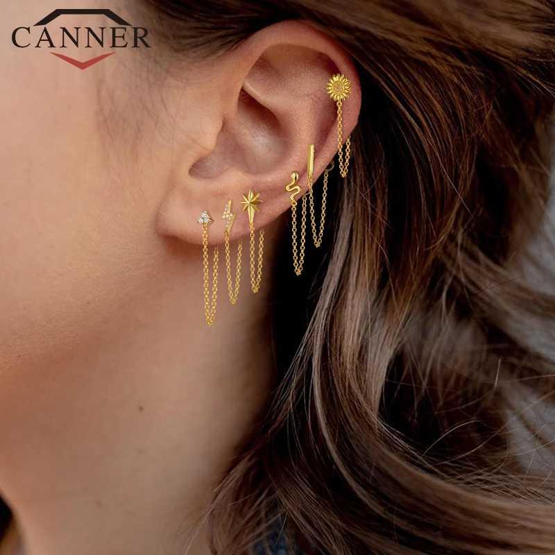 CANNER circonita con Color de arco iris Luna estrella pendientes de tachuela para mujer Plata de Ley 925 CZ pendientes de cristal 2019 Color dorado pendiente de cadena H4