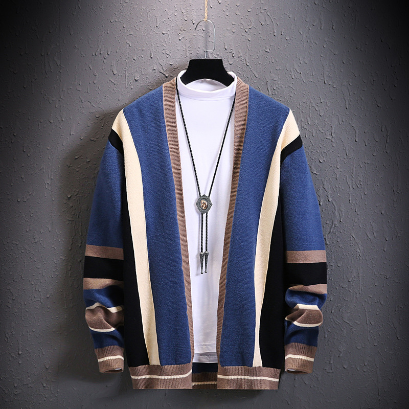 2020 Men Stripes Cardigan Not Balling Up Does Not Fade Sweater Youth New Style Outer Wear No Buckle Cardigan Sweater