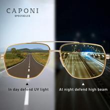 CAPONI Night Driving Sunglasses Photochromic Polarized Clear Vision Eyewear Square Metal Fishing Sun Glasses Men UV400 BSYS8002