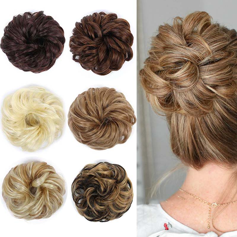 DIANQI Women's Thick 1PCS Hair Scrunchies Made Of Hair Curly Wavy Updo Hair Bun Extensions Messy Hairpieces