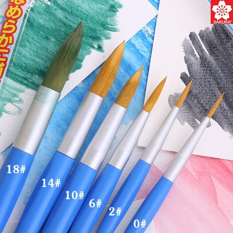 1pc Japan Sakura Watercolor Nylon Fiber Paint Brush Round/Flat Special Use Watercolor Gouache Acrylic Oil Painting Art Supplies