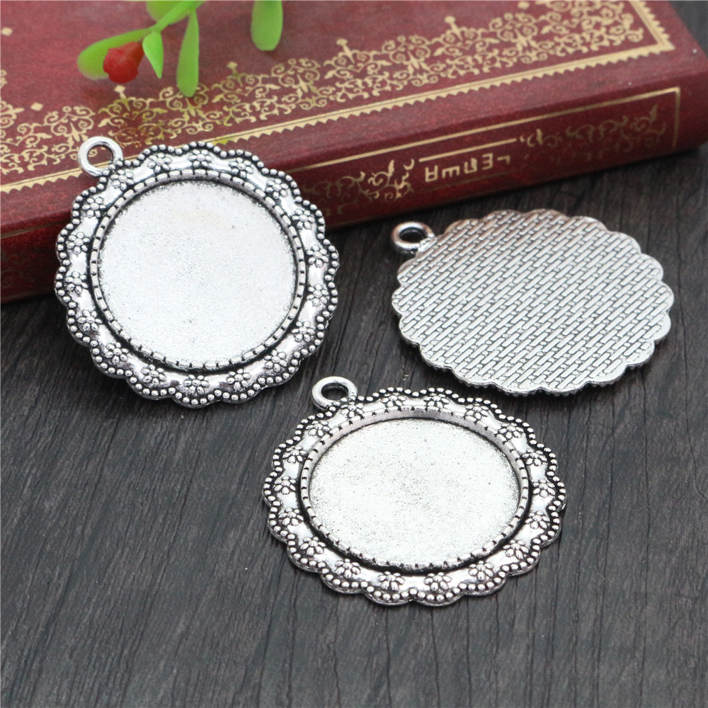 New Fashion  3pcs 25mm Inner Size Antique Silver Plated Cool Style Cabochon Base Setting Charms Pendant (A6-32)