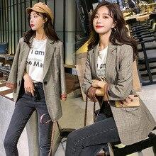 $ New zakiety damskie elegancki Elegant Style Coat Plaid Printed Turn Down Collar Brief Coat Outwear jackets for women vadim