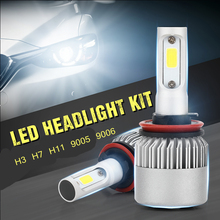 цены 2x LED Chip COB Car Headlight Bulbs H1 H3 H7 H11 9005 9006 880 LED Bulbs S2 12W 80W 8000LM 6000K White Headlight Lamp Led light