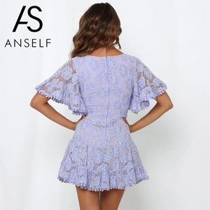 Image 2 - Anself Women Party Lace Dress V Neck Batwing Sleeve A Line Empire Dress Mini Woman Sexy Summer Dresses