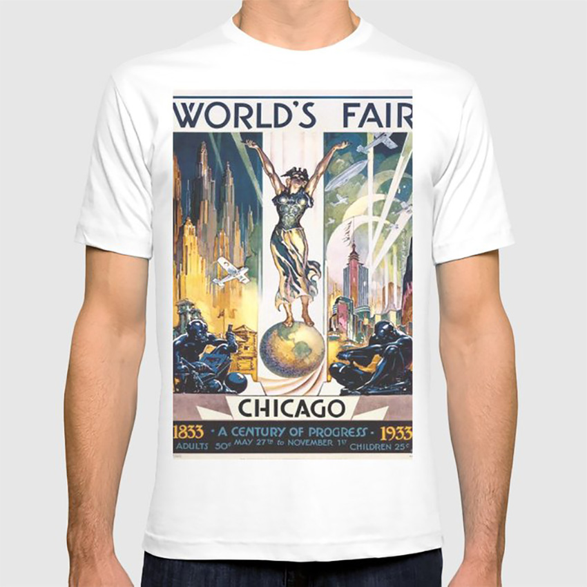Vintage World's Fair Chicago 1933 T Shirt Vintage Worlds Fair Chicago <font><b>Illinois</b></font> 1933 Globe History image