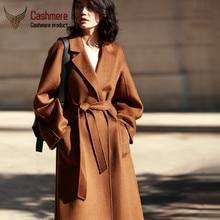 2019 Autumn Winter Water ripple cashmere coat jacket female plus long double-sided loose tie woolen