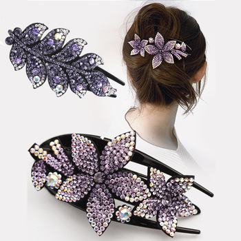 Rhinestone Hairpin Flower Leaf Butterfly Duckbill Hair Claws Retro Hair Clips Accessories For Women Shinning Ponytail Headwear 1