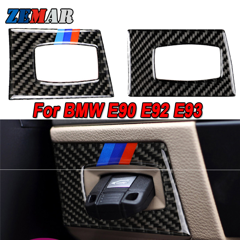 Carbon Fiber For <font><b>BMW</b></font> <font><b>E90</b></font> E93 E92 3 series 2005-2012 Car Key Hole Protection Circle Ignition Switch Decoration Cover Sticker image