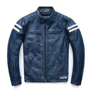 Image 3 - オートバイの革のジャケット男性 100% 本物の牛革革natrualスキンコートの男性スリムフィット爆撃機バイカーレザージャケットコート秋M218