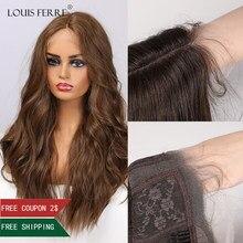 Louis ferre longa onda de água marrom perucas dianteiras do laço para a mulher negra afro cospaly parte do meio peruca sintética do laço resistente ao calor