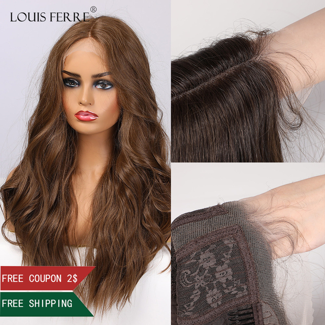 LOUIS FERRE Long Water Wave Brown Lace Front Wigs for Black Woman Afro Cospaly Middle Part Synthetic Lace Wig Heat Resistant