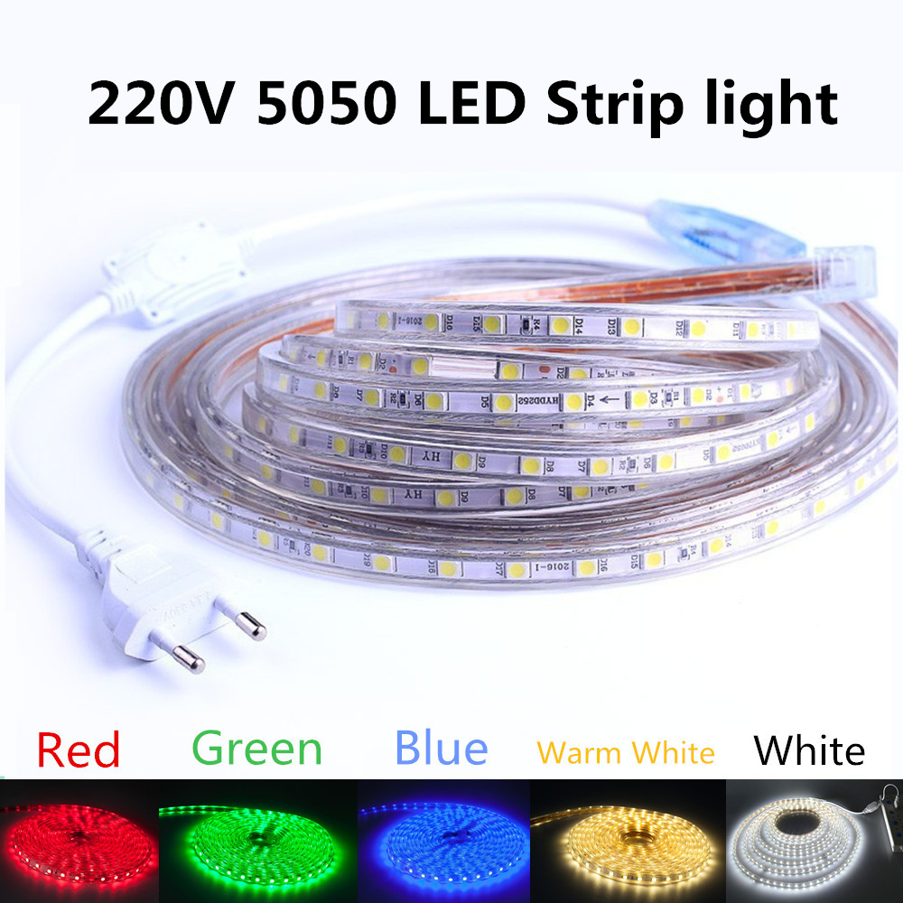 5050 Flexible Tape LED Strip Light 220V Outdoor Lights Waterproof 60leds/m LED Light With EU US Power Plug Room Decoration Lamp