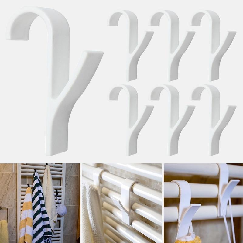 High Quality Hanger For Heated Towel Radiator Rail Bath Hook Holder Clothes Hanger Percha Plegable Scarf Hanger 6pcs white(China)