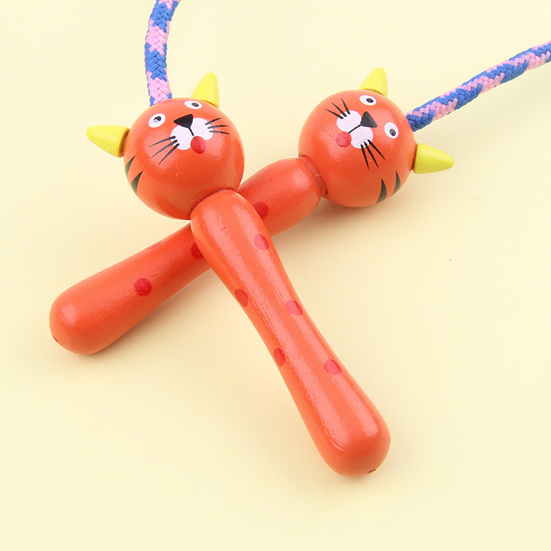 Young STUDENT'S Cartoon Wooded Jump Rope Beginner Gift Children Braided Rope GIRL'S And BOY'S Sports Toy