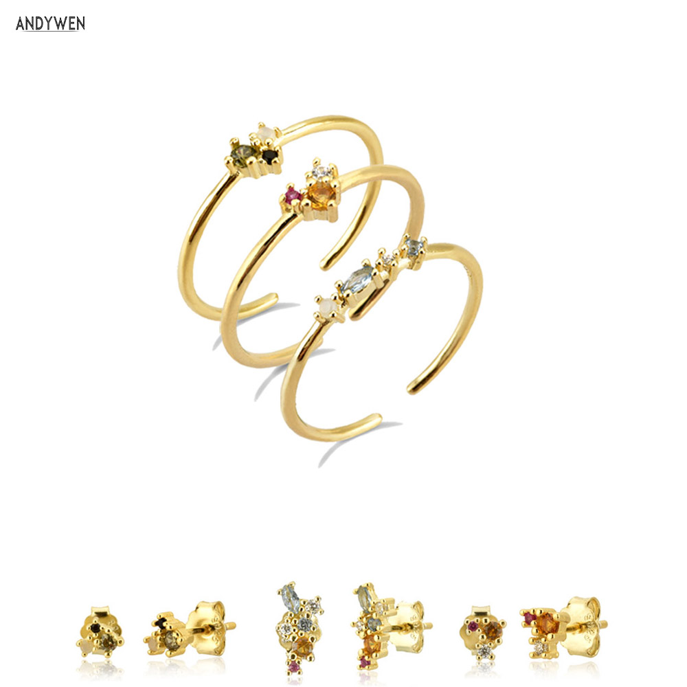 ANDYWEN 925 Sterling Silver Three Zircon Colorful Resizable Rings Summer Collection Rainbow luxury Slim Circle Jewelry For Party