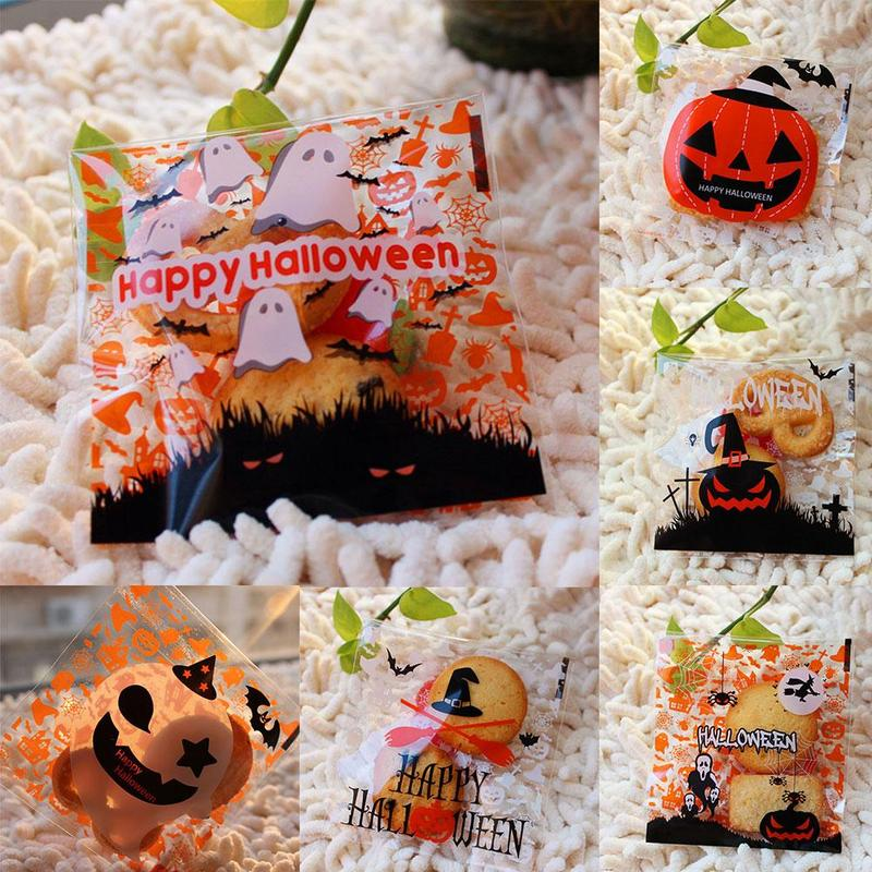 Halloween Cookie Candy Bag Self Adhesive Plastic Bags Childre Gift Treat Bags Cute Pumpkin Bat Printed Party Supplies
