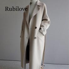 Rubilove 2019 winter woolen coat women wide lapel belt pocket wool blend coat  long wool coat outwear coffee wide lapel side pocket design fashion coat