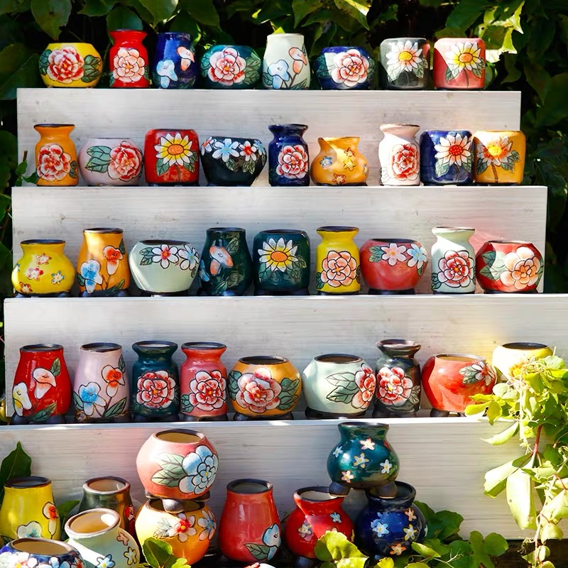 Flower Pot Ceramic Succulent Cactus Pots Plant Pots Garden Pots Ceramic Flower Pots Planter Outdoor Garden Home Decoration