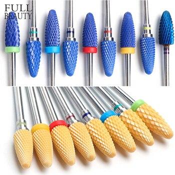 Brocas de cerámica para manicura para uñas limas eléctricas para uñas profesionales cortadores de color rosa azul amoladora molinos accesorios CHCS3-21