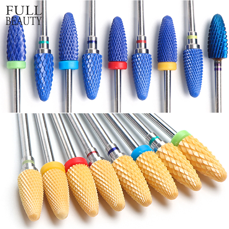 Ceramic Manicure Nail Dril Bits Professional Electric Nail Files Flame Pink Blue Cutter Grinding Bits Mills Accessories CHCS3-21