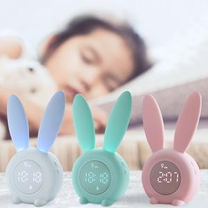 Silicone Cartoon Rabbit Alarm Clock Multifunction Night Light Digital Display USB Induction Electronic Timed Clock