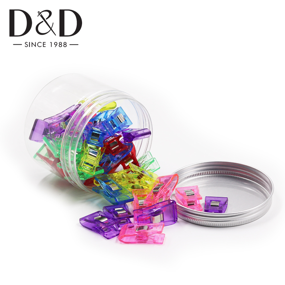 40Pcs Sewing Clips Mixed Quilting Plastic Clips Hemming Garment Clamps with Bottle for Patchwork Fabric Craft DIY Sewing Tools