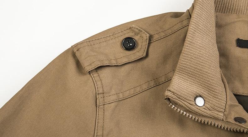 jaqueta masculina gola de algodão militar clássico