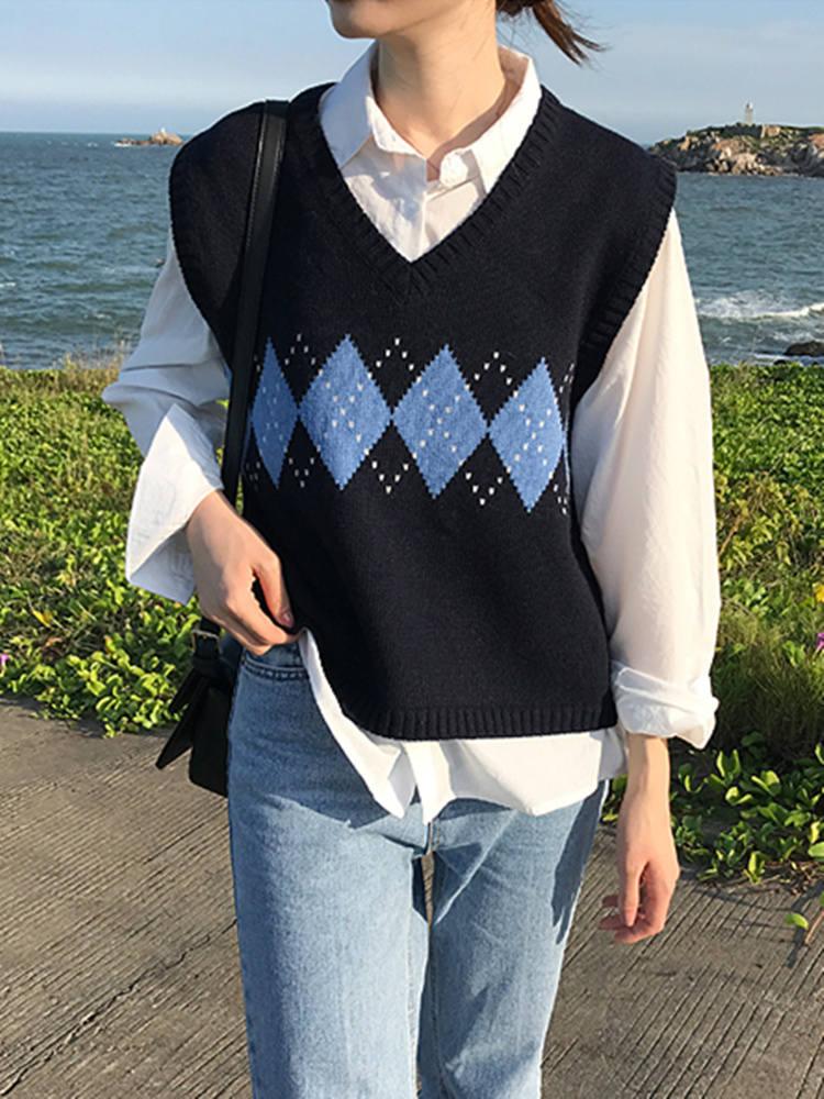 Женский свитер, жилет, осень 2020, корейский стиль, Ретро стиль, геометрический рисунок, v-образный вырез, без рукавов, пуловер, вязаный джемпер,...