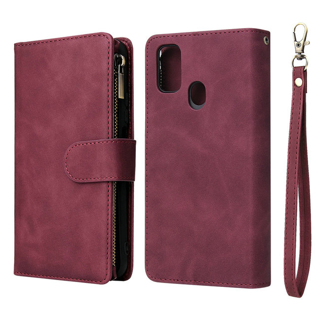 Multifunction Zipper Flip Leather Etui for Coque Samsung M30S Case Wallet Cover for Samsung Galaxy M21 M30 S M 21 30 M 30S Case
