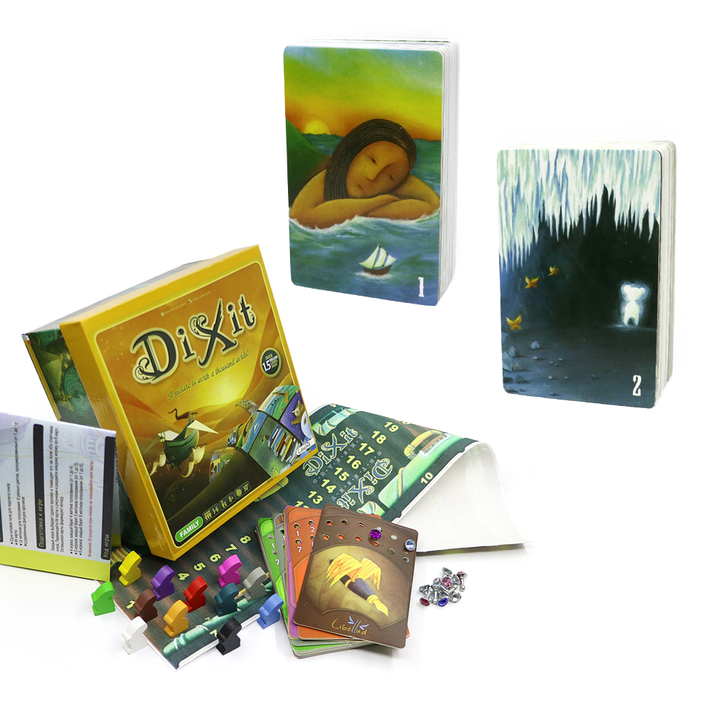 Education Card Game Dixit1+2 Wooden Rabbits 168 Cards Colorful Box Gifts For Kids Family Party  Board Game