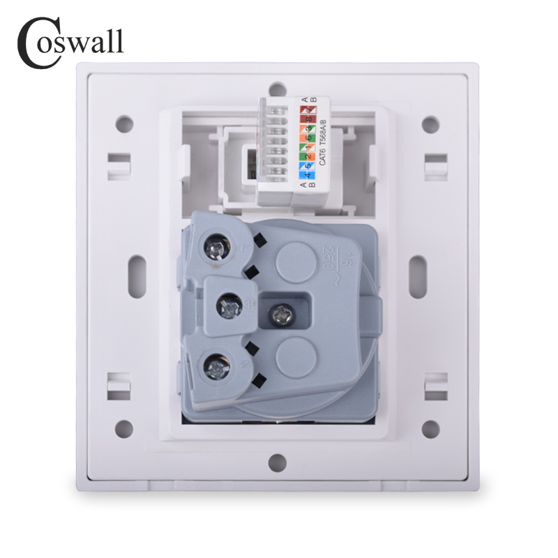 Coswall PC Panel EU Russia Spain Wall Socket + 1 Gang CAT6 RJ45 Internet Computer Data Connector White Color Modular 86*86mm
