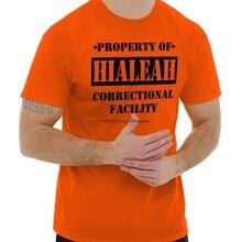 Propriedade de hialeah fl prisão o novo preto novidade gráfico camiseta (1)