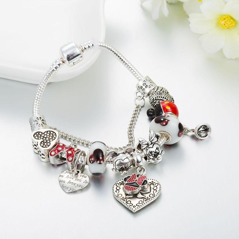 Annapaer 2019 novo bonito mickey minnie charme pulseiras & pulseiras para as mulheres diy marano contas apto pan pulseira para meninas presentes