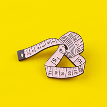 Women's Brooch Pin Tape Measure Brooches Blue White Pink Measuring Ruler Sewing Tool Badge On Clothes Sweater Shirt Jewelry Gift(China)