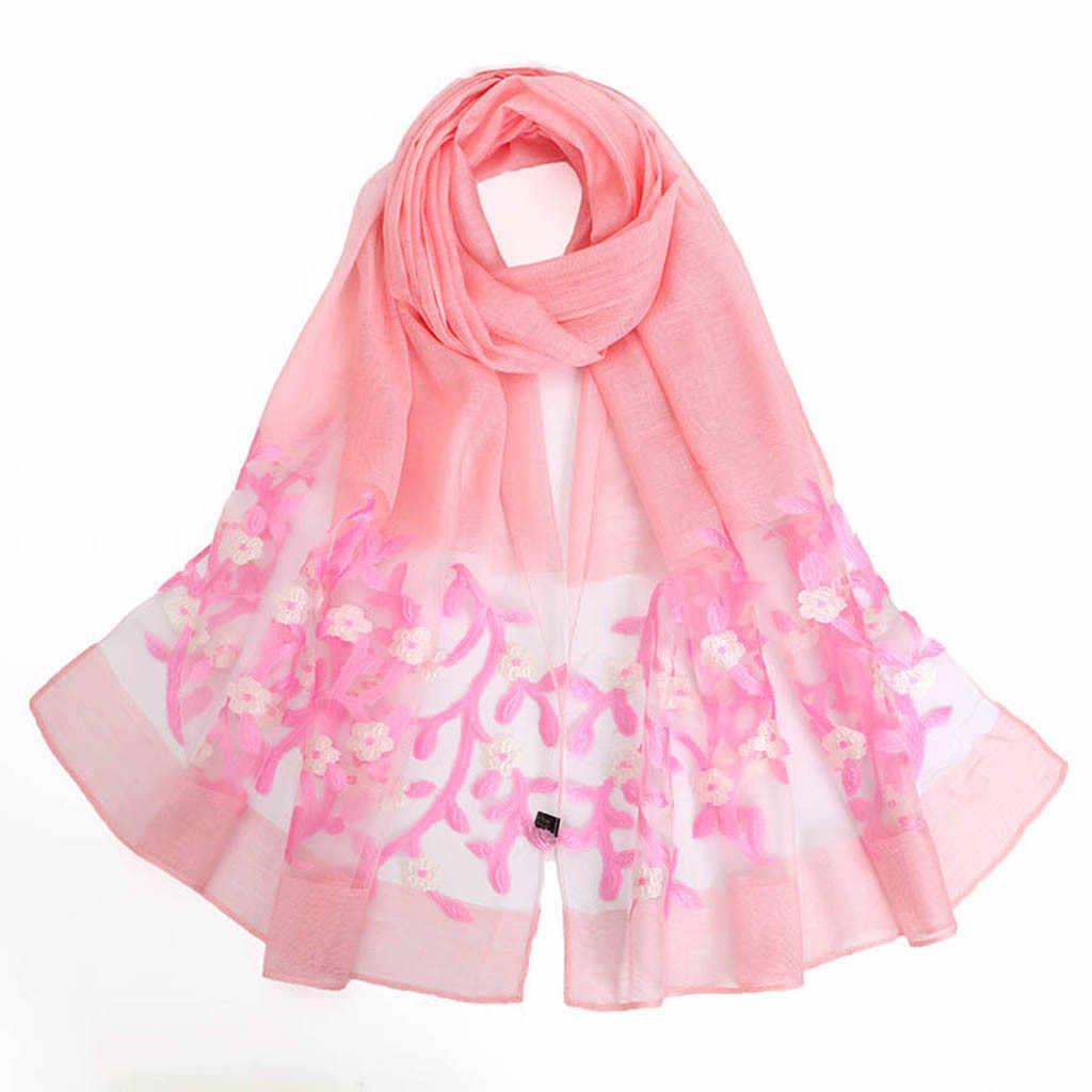 Женские шарфы, женские цветные длинные шарфы с цветочным принтом, Женская шаль, шифоновый шарф, Женский хиджаб, осенние и зимние шарфы 19Nov05