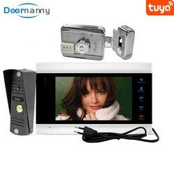 Doornanny wideodomofon z zamkiem do domu apartament zdalny zamek RFID zestaw systemu kontroli dostępu domowego Tuya inteligentny zamek Bell