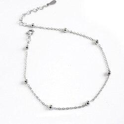 S925 pulsera de cuentas redondas de plata de ley joyería simple de las mujeres